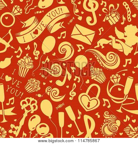 Vector Seamless Valentine's Pattern.