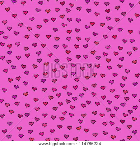 Bright Seamless Pattern With Tiny Hearts. Abstract Repeating. Cute Backdrop. Hot Pink Background.