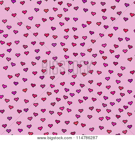 Seamless Pattern With Tiny Colorful Hearts. Abstract Repeating. Cute Backdrop. Pink Background.