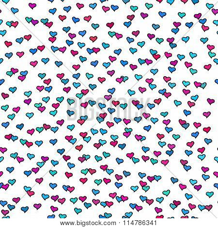 Seamless Pattern With Tiny Colorfrop. Wul Hearts. Abstract Repeating. Cute backdrop.