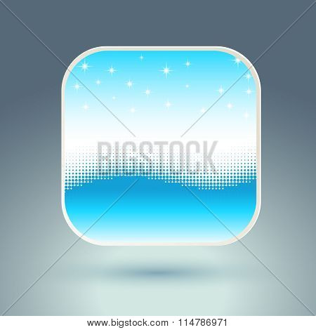 App icon with snowflakes and wave.