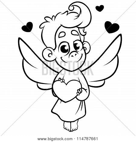 Valentine Day cupid angel cartoon style vector illustration. Monochrome vector line art isolated