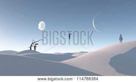 Man Floats in mid air in surreal desert landscape observed by another