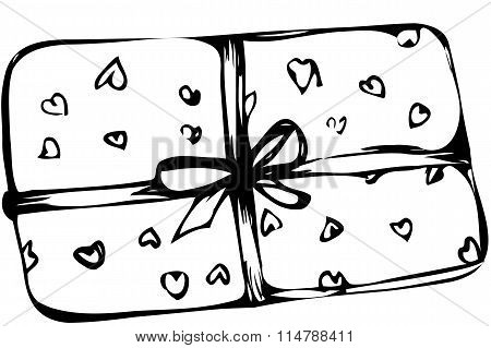 Vector Sketch Box With Hearts Tied With A Ribbon