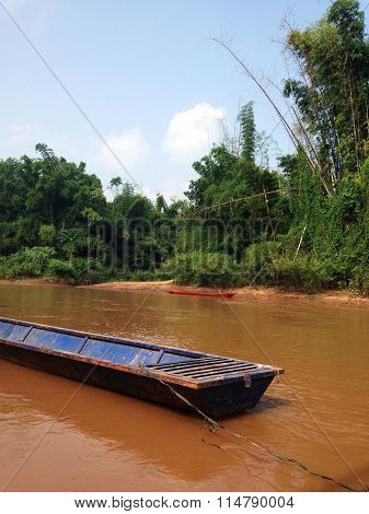 The Long Tailed Boat In River