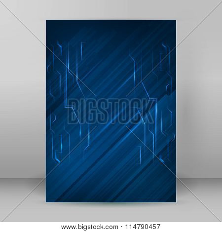 Electronics Blue Brochure Design Element A4 Page