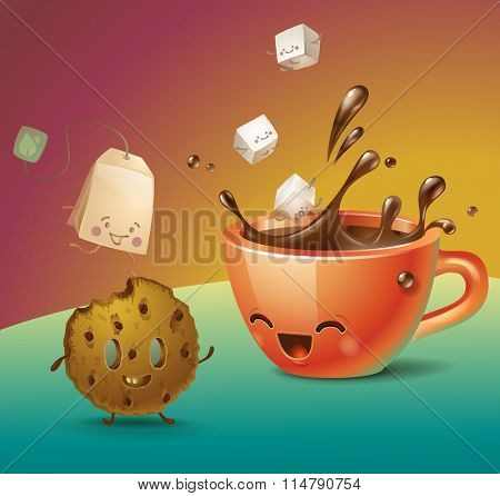 Kawaii tea or coffee cup with sugar cubes cookie and teabag. Vector Illustration.