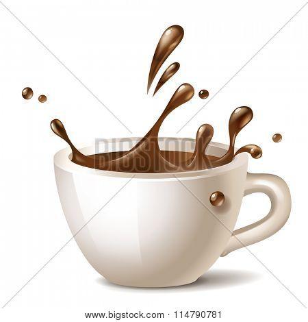 coffee cup splashing vector icon