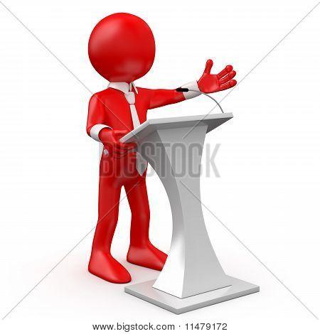 Hablando en una conferencia de hombre rojo