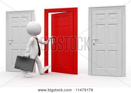 Hombre maletín entrar por una puerta roja