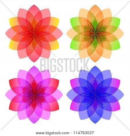 Floral Perfume Set Of Icons Logo Flower White Background