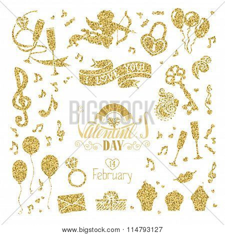 Vector Set Of Gold Signs For Valentine's Day Design.