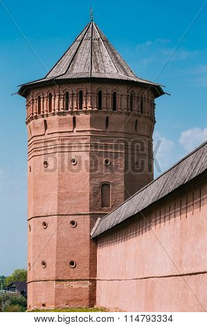 Ancient walls and Towers of Kremlin in Suzdal, Russia