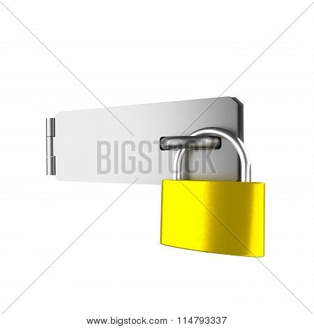 Padlock And Latch Isolated On The White.
