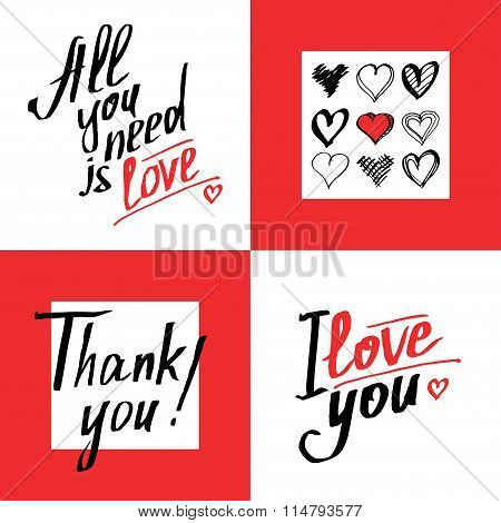 Set Of Romantic And Love Cards Template. Calligraphic Phrases