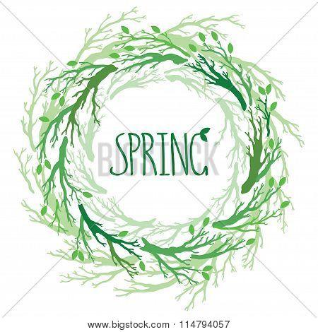 Spring Wreath With Branches And Leaves. Vector Hand Drawn Tree Branches Set, Branches On Round Frame