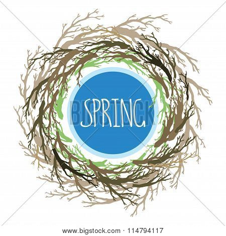 Wreath With Tree Branches, Bird's Nest, Symbol Of The House. Vector Hand Drawn Tree Branches