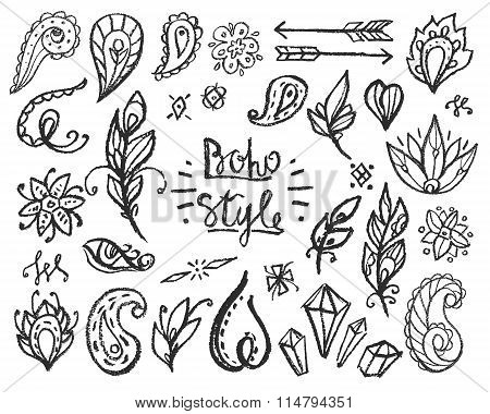 Set of Ornamental Boho Style Elements.