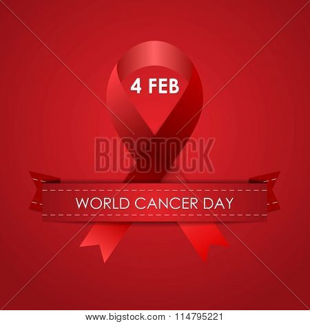 World Cancer Day red background with ribbon. Vector graphic design