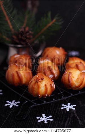 Custard Cream Cakes On A Black Background