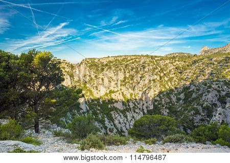 Beautiful nature of Calanques on the azure coast of France. High