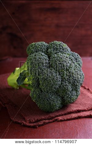 Broccoli Sprouts On A Dark Brown Background