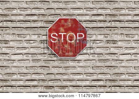 Stop Traffic Sign On Brick Three-dimensional Wall