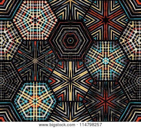 Seamless Dark Hexagons Pattern.