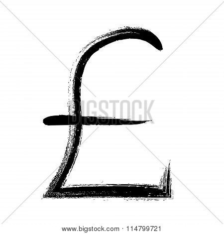 Currency symbol hand drawn. GBP pound sign.