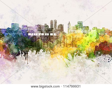 Peoria Skyline In Watercolor Background