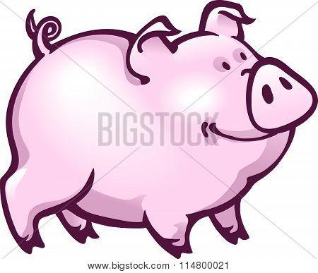 Happy Contented Look Pink Piglet