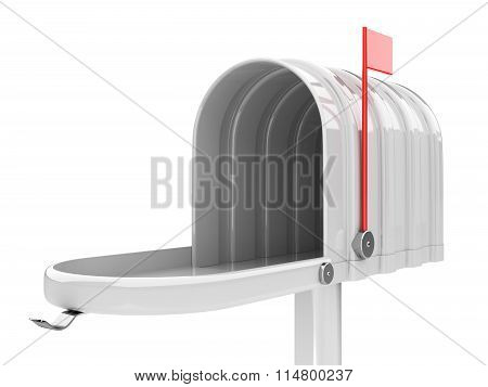 Opened Empty White Mailbox Isolated