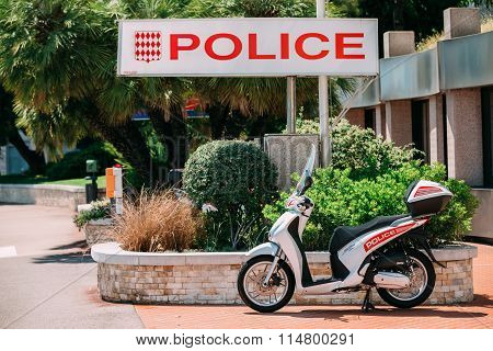 Honda Motorbike stands near Urban Police Division in Monte Carlo