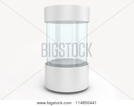 Round White Showcases With A Pedestal Inside