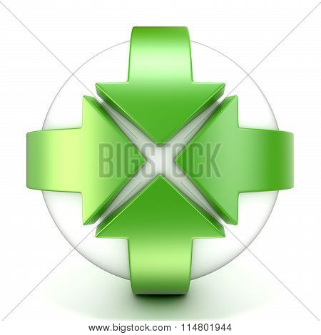 Green rotation arrow sign. 3D