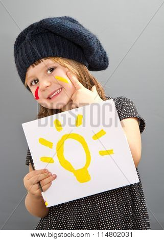 Little Painter Girl With An Idea