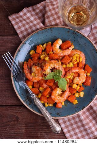 Shrimp Salad With Pumpkin And Corn On The Blue Vintage Plate