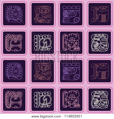 Seamless background with glyphs of the Maya Night Lord