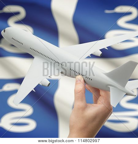 Airplane In Hand With Flag On Background - Martinique
