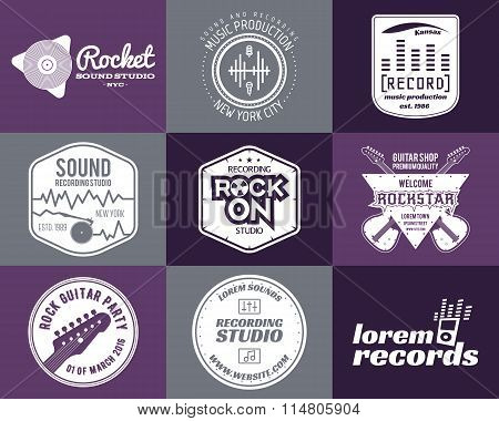 Set of vector music production logo Musical label icons. Music patch and emblem print or logotype Gu