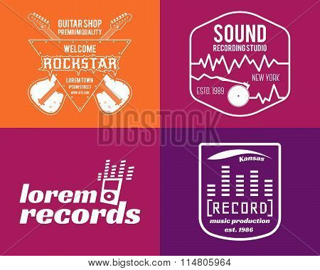 Vector music production logos set Musical label icons. Music insignia and emblem print or logotype G