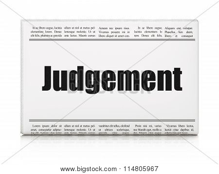 Law concept: newspaper headline Judgement