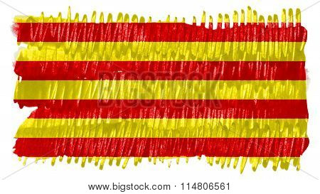 Flag of Catalonia, Catalan Flag painted with brush on solid background, paint texture