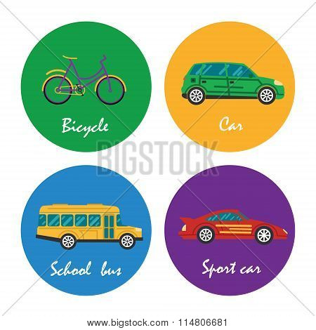 Road transportation icons set illustration