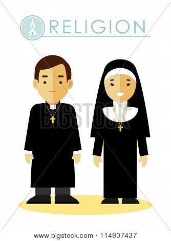 Catholic christian priest man and woman