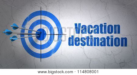 Tourism concept: target and Vacation Destination on wall background