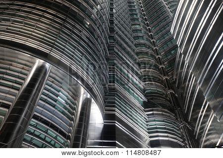 Futuristic skyscrapers in Kuala Lumpur, Malaysia, close-up view