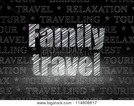 Tourism concept: Family Travel in grunge dark room