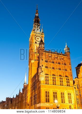 Illuminated Town Hall in historical centre of Gdansk