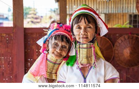 Women from Kayan tribe at Inle Lake